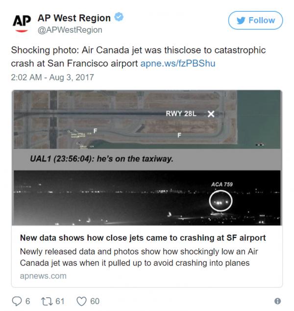 В Сети появились кадры, как канадский самолёт избежал «катастрофы века»