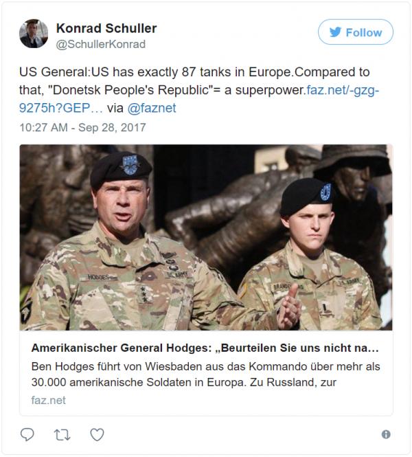 Немецкий журналист о военной группировке США в Европе: По сравнению с ними, ДНР — супердержава