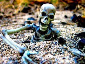 Озеро, окружённое скелетами