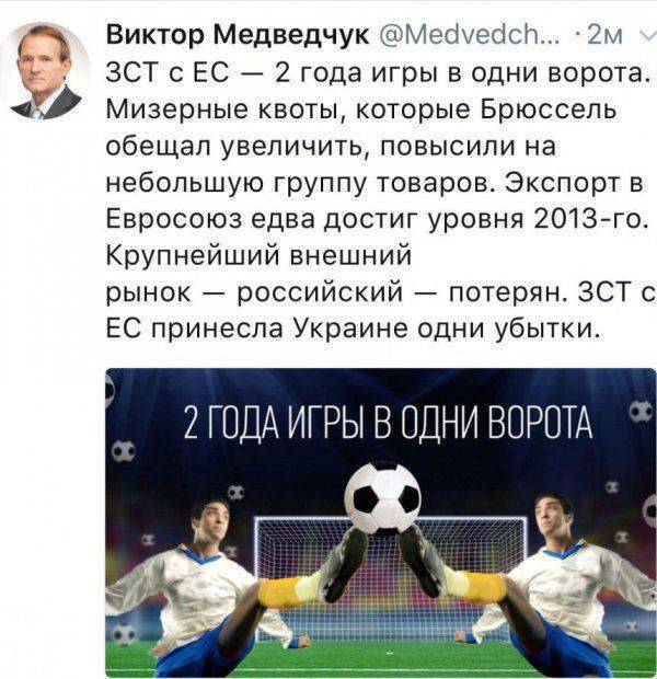 Игра в одни ворота: Медведчук рассказал о ЗСТ между Украиной и ЕС