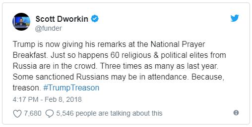 Трамп проигнорировал Собчак на молитвенном завтраке