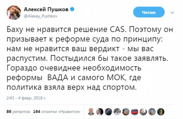 «Постыдился бы»: Пушков отреагировал на слова главы МОК о решении суда по российским спортсменам