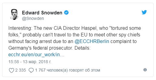 Новый директор ЦРУ участвовала в пытках, сообщил Сноуден