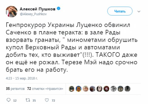 «Даже он такого еще не рожал»: Пушков осадил генпрокурора Украины за обвинение Савченко в организации теракта