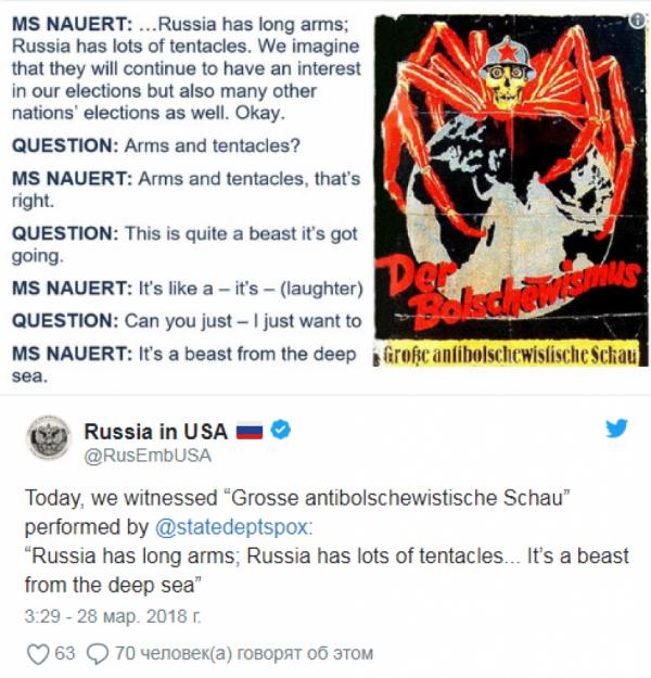 Умышленная демонизация и игра с огнем: в Госдуме ответили на речь Госдепа, в которой РФ «морское чудовище»