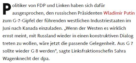 Без Путина у G7 ничего не выйдет: в Германии предлагают «семерку» превратить в «восьмерку»