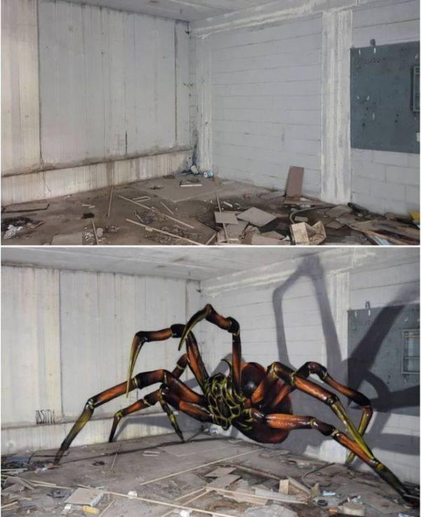 3D-рисунки на стенах, пугающие своей реалистичностью