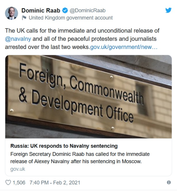 США, Британия, Германия требуют освобождения Навального